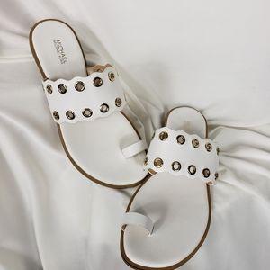 NWOT Michael Kors White Leather Grommet Toe Sandal